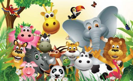 Giant  wallpaper murals for baby room Animals Jungle 693